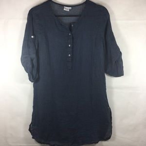 Dolma Sheer Navy Linen Tunic